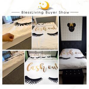 Image 5 - BlessLiving kirpik yatak kraliçe altın ve siyah sevimli gözler desen yorgan kılıfı seti 3 parça komik nevresim moda kızlar için