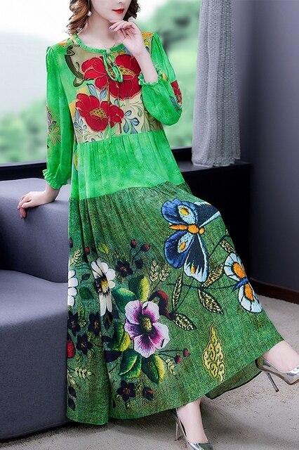 ZUOMAN 5XL Plus Size Loose Mulberry Silk Maxi Sundress 2021 Summer Casual Floral Boho Beach Midi Dresses Elegant Bodycon Party 5