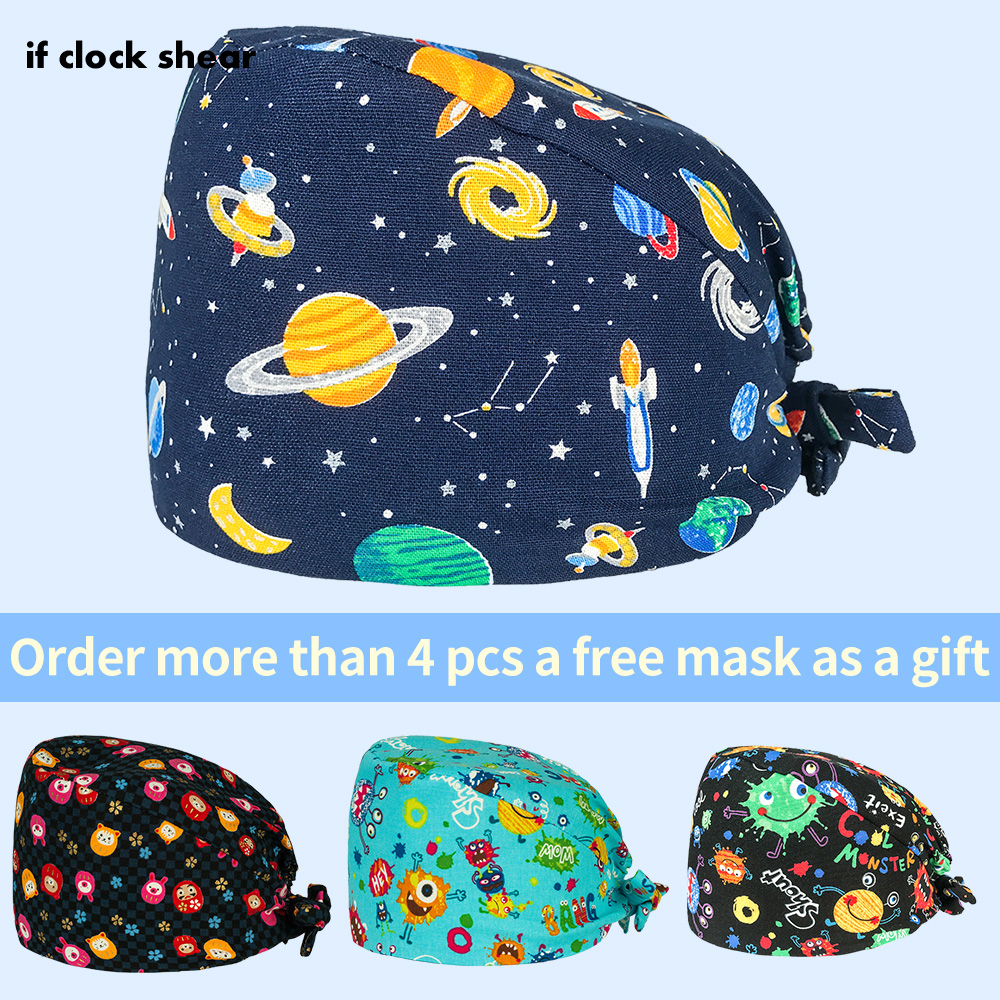 Surgical Printing Doctor Nurse Work Cap New European And American Medical Cap 100% Cotton Fashion Breathable Male Printing Caps