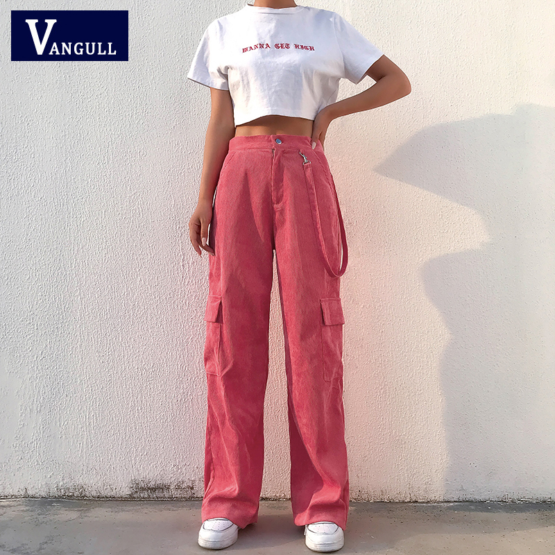 Vangull Women Casual Pockets Patchwork Cargo Pants 2020 Spring High Waist Straight Trousers Casual Solid Woven Full Length Pants