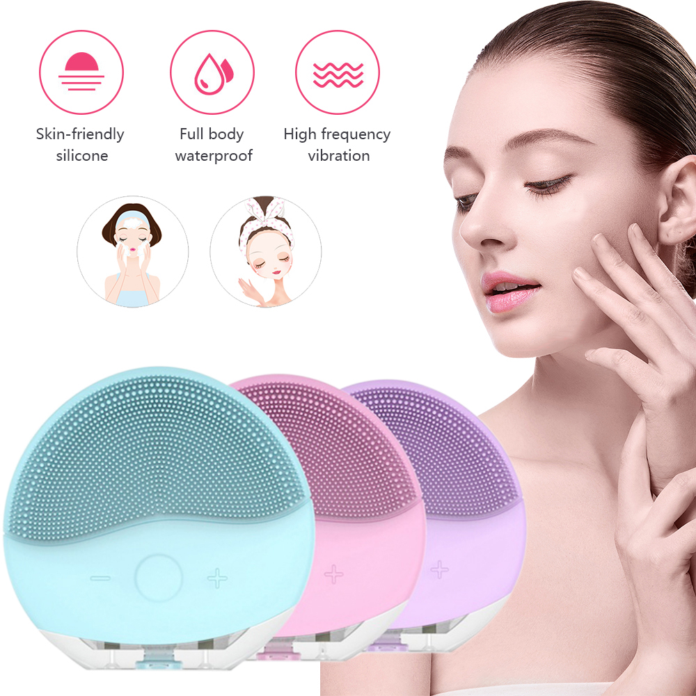 Mini Electric Face Cleansing Brush Foreoing Silicone Sonic Cleaner Deep Pore Cleaning Waterproof Face Scrubber USB