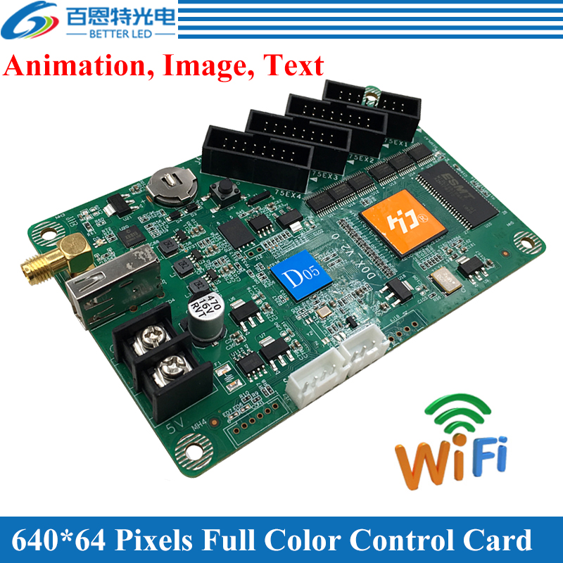 640*64 Pixel(HD-D05), 1024*64 Pixel(HD-D06), Animation, Image, Text, Huidu Door Lintel WIFI Full Color Led Display Control Card