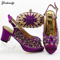 Yuternity Italian Style Purple Color Full Stones Woman Shoes And Bags Set Summer Luxury Pumps Shoes And Bag Set For Party Dress