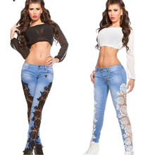 New Arrival Woman Lace Floral Spliced Low Waist Slim Sexy Skinny Denim Jeans Cas