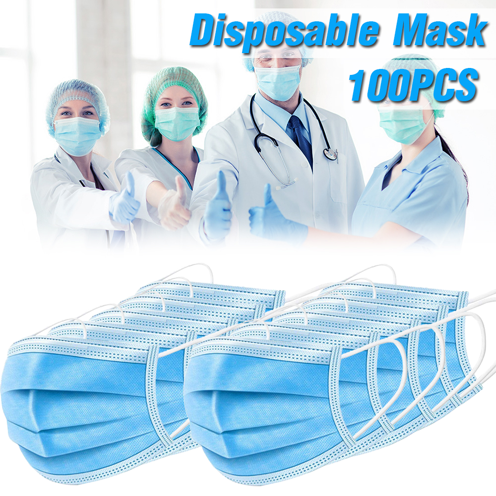100/50pcs Mouth Masks Nonwove Disposable Masks Earloop Anti-Dust Anti Influenza Breathing Safety Face Mask