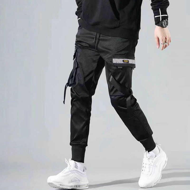 2020 hombres Multi-Bolsillo Harem Hip Hop Pantalones Streetwear Sweatpants Hombre Casual pantalones cargo de moda hombres negro
