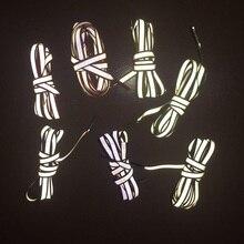 Zapatillas deportivas Unisex con cordones brillantes, reflectantes, de doble cara, 1 par