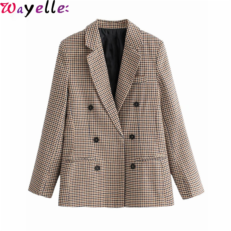 Women Plaid Blazers and Jackets Autumn Winter Work Office Lady Suit Slim Double Breasted Business Female Blazer Coat