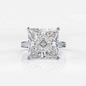 Image 4 - Rainbamabom 925 prata esterlina quadrado criado moissanite diamantes pedra preciosa noivado casamento casal anéis jóias atacado