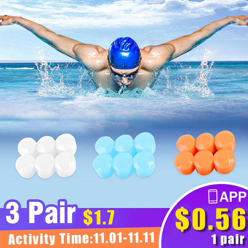 Waterproof 6Pcs Silicone Soft  Protective Ear Plugs Sleeping Anti-noise Earmuffs Protection Swimming Snorkeling