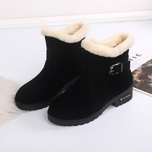 New large women's Martin boots plus Plush warm flat bottom cotton boots women's short snow boots in autumn and winter 2019 student hairy flat bottom warm short boots women winter thickening martin boots black white tie leather flat heel women boots