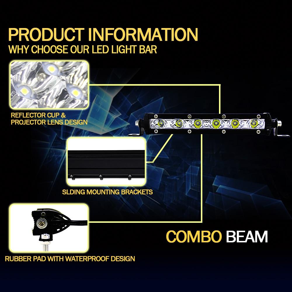 Car Styling Spot Combo Light 18W 36W 12V 6000K Led Work Light Bar For Trucks Forklifts SUV Off-road Engineering Vehicles Pakistan