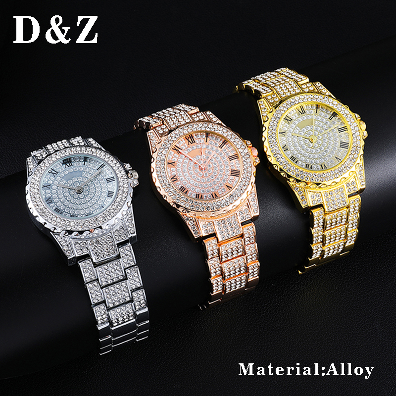D&Z Male's Hip Hop Micro Paved CZ Brand Watch Quartz Numerals Watch For Men Hand Jewelry Accessories