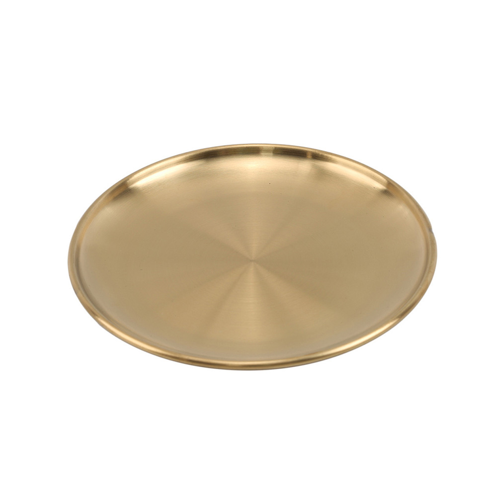 Simple Metal Storage Tray Gold Silver Stainless Steel Plate Round Dessert Fruit Plate Jewelry Organizer Trays