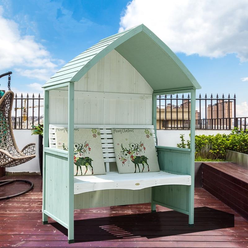 Courtyard-Chair Bench Garden Outdoor Gazebo And Wood Villa Sun-Shading Double-Park American