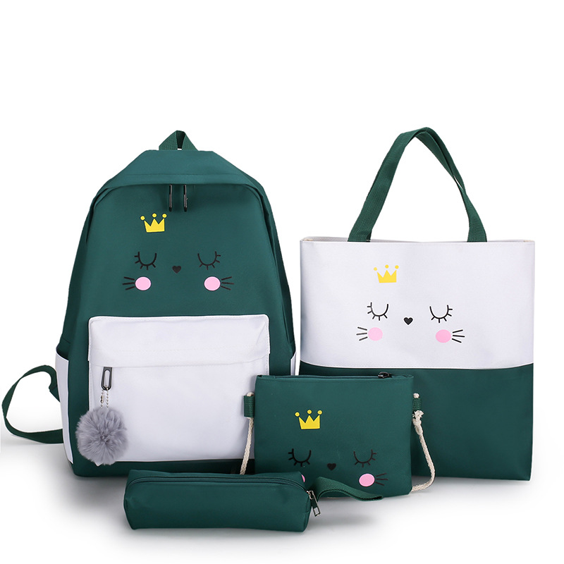 The New Backpack Women's School Bag Hit The Color Small Fresh College Style Four-piece Casual Wild Backpack