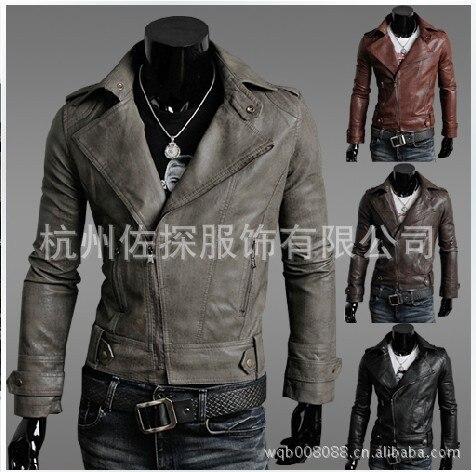Processing Autumn And Winter England Large Size Men'S Wear Boutique Men's Locomotive Leather Coat Leather Jacket Coat Y98