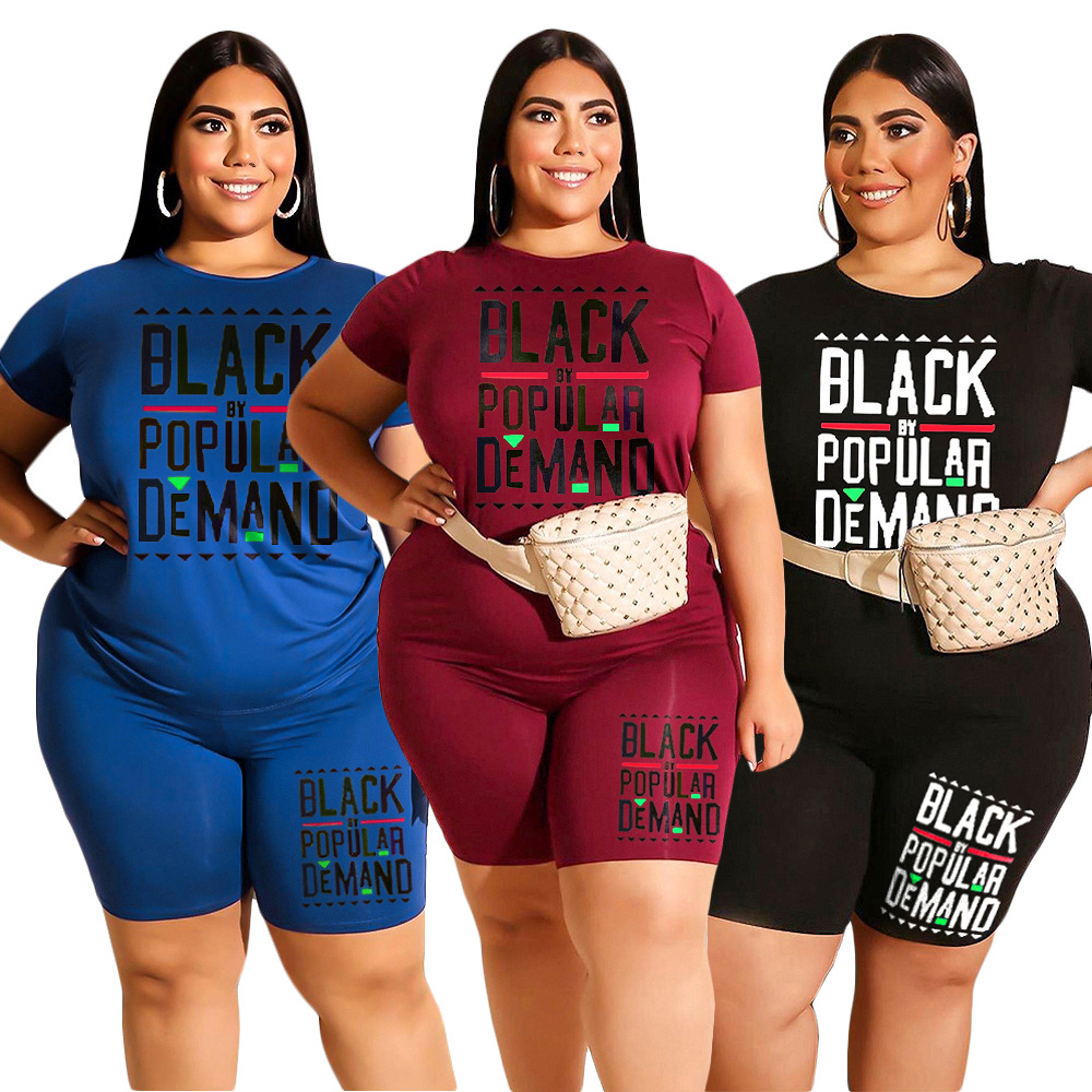 2 Piece Sets Womens Outfits Plus Size 2XL 3XL 4XL XXXXL Two Piece T Shirt And Short Matching Set Casual Summer Clothes Conjunto