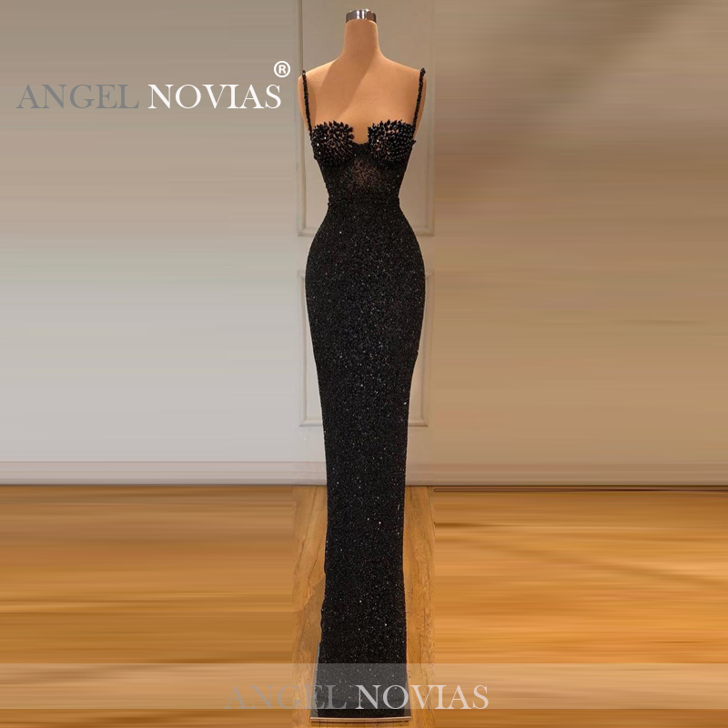Sheath Black Glitters Evening Dresses 2020 With Straps For Women Floor Length Formal Evening Party Gowns 2019