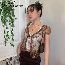 Y2k модные коричневые сетчатые прозрачные открытые кружевные