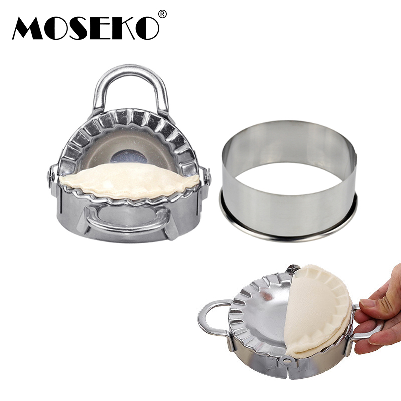 MOSEKO Dumpling Tools Jiaozi Maker Mould Pastry Stainless Steel Cookie Pastry Wrapper Dough Cutter For Kitchen Making Tools