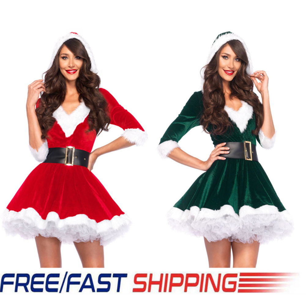 Christmas Miss Santa Claus Dresses Cosplay Costumes Women Hooded Mini Dress Ladies Xmas Theme Party Club Cosplay Fancy Costume