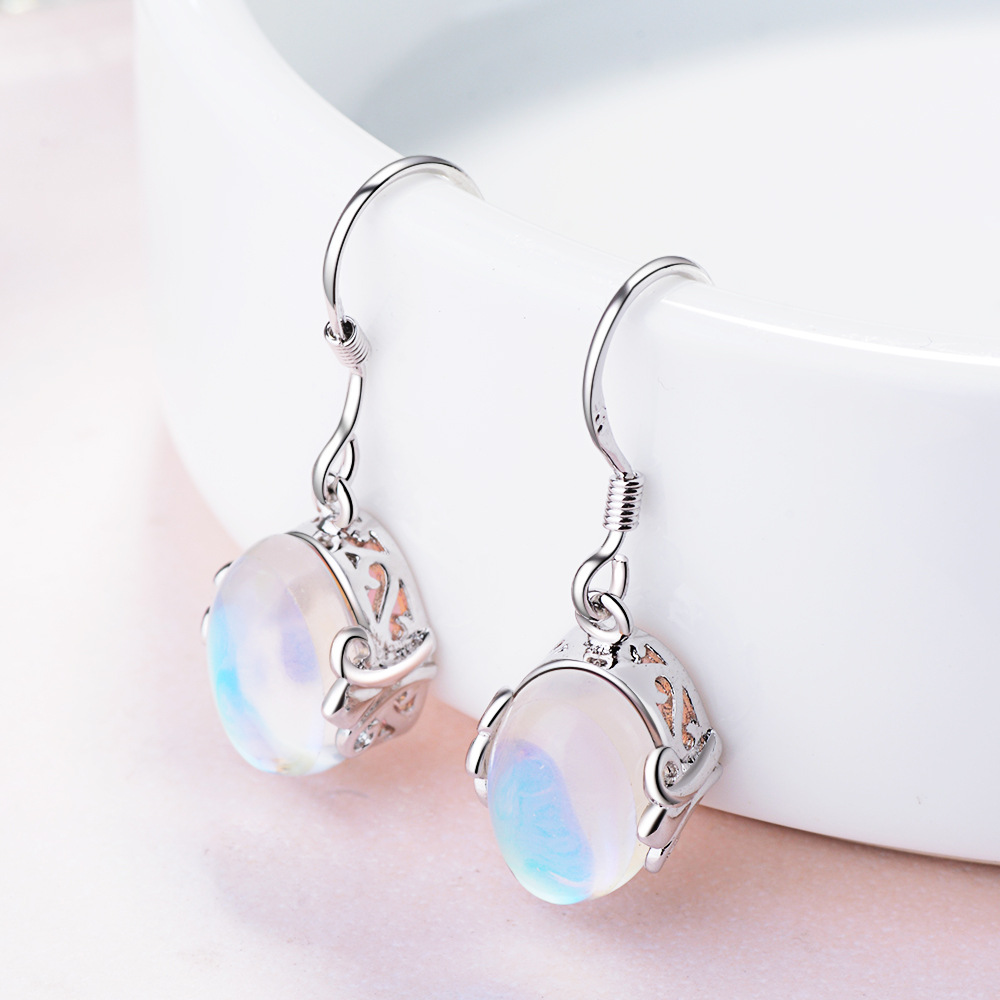 925 sterling silver earrings rainbow moon stone natural Semi-precious stones 925 sterling silver earrings