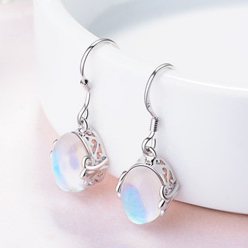 925 sterling silver earrings rainbow moon stone natural Semi-precious stones