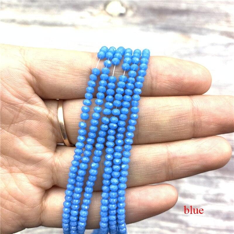 1 нитка 1X2 мм/2X3 мм маленькие хрустальные бусины Rondelle бисер-разделитель маленькие бусины для изготовления ювелирных изделий Diy - Цвет: blue