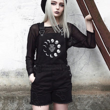 2020 Fashion personality Ladies Women Casual Street Gothic Punk Letter Moon Print Hole Romp