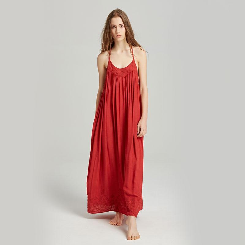 Summer new women's wear travel holiday Bohemian island beach dress embroidery sexy back hanging neck dress