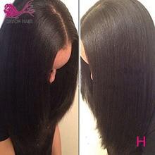 EAYON 라이트 이탈리아 야키 실크 탑 Glueless 풀 레이스 가발 5x4.5 야키 스트레이트 가발 브라질 레미 인간의 머리카락과 아기 머리카락