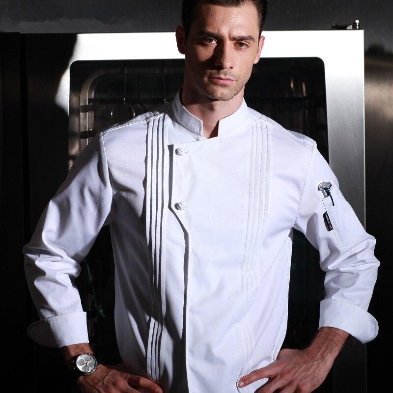Haute qualité hiver restaurant cuisine uniforme épais lavable cuisinier uniforme à manches longues blanc chef veste