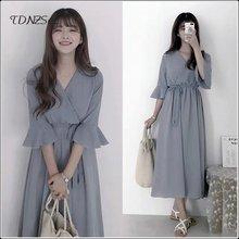 Женское шифоновое платье средней длины элегантное рубашка с