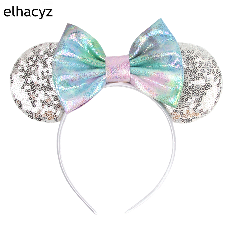 2021 New Candy Sequin Mouse Ears Hairband For Women Girls Macaroon Sequin Bow Ears Headband Kids Birthday Party Hair Accessories