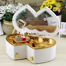 Double Heart Shape Jewelry Case Music Box Storage Boxes Valentine's Day New Year Gift with Removable Magnetic Dancer Home Decor