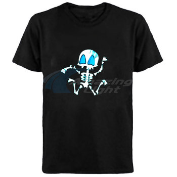 100% cotton funny horror electronic glowing t-shirt LED light up el panel t shirt music activated flashing el panel t-shirt
