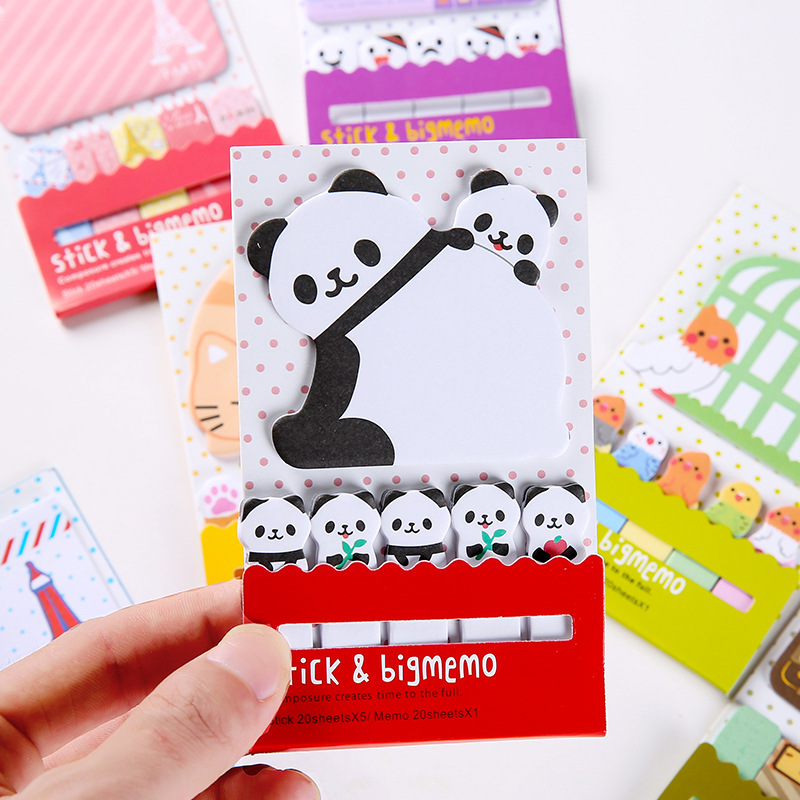 Colored Panda Memo Pad Cute Sticky Notes Self-Adhesive Notes Office Stationery and School Supplies 1PCS 20 Pages
