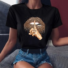 Harajuku Women Summer Fashion Short Sleeve Casual T Shirt Female Leopard Lips Graphic Printed Black T-shirt Girls Tops Tee