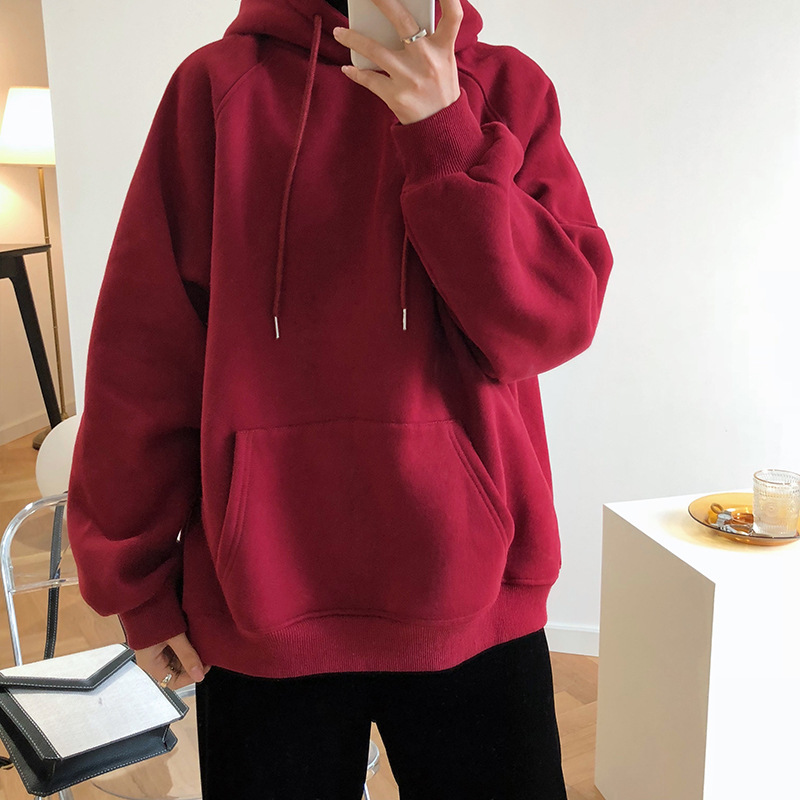 2020 Spring Long Sleeve Women Thick Hoodies With Pocket Women Warm Oversize Hooded Hoodies Women Pullovers Tops