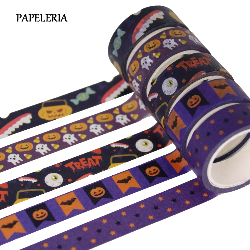 1Pcs/Set Halloween Washi Tapes Pumpkin Candy Bat Ghost Web DIY Scrapbooking Masking Tapes School Office Supply Gift  Paper Tape