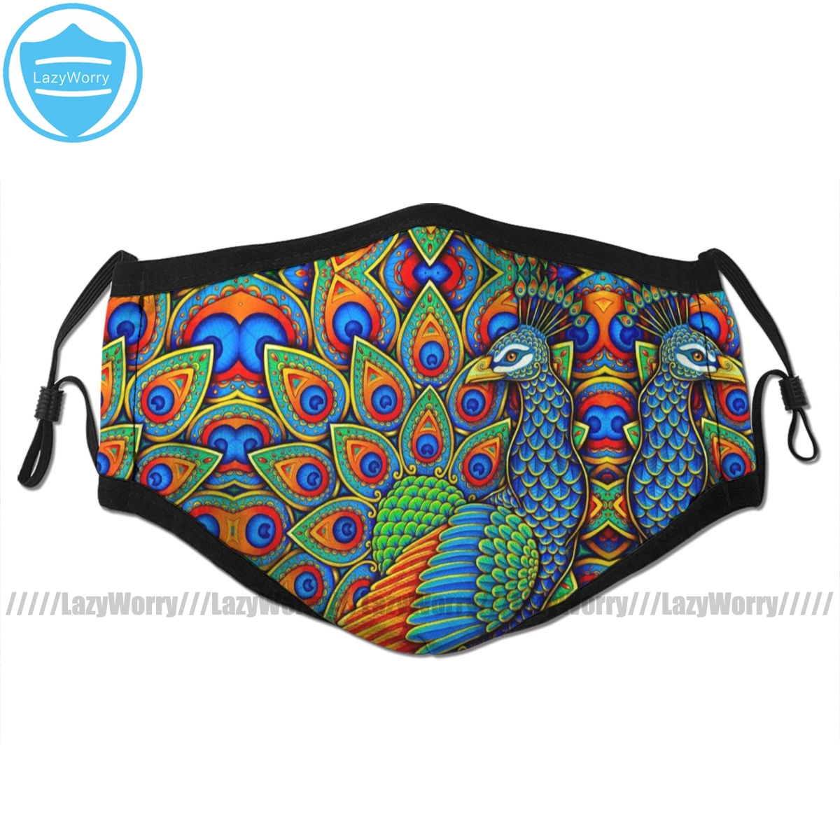 Peacock Mouth Face Mask Colorful Paisley Peacock Rainbow Bird Facial Mask Cool Fashion With 2 Filters For Adult