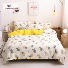 SlowDream Cartoon Pineapple Printed Bedding Set Soft Duvet Cover Comforter Single Double Flat Sheet Bedspead Bed Wholesale