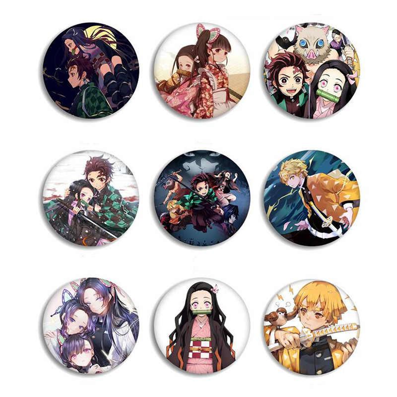 Anime Demon Slayer Kimetsu no Yaiba Kamado Tanjirou szpilki do plecaków Cartoon przypinka dekoracje broszki metalowe odznaki