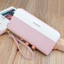 Women's Wallet Women's Long Leather Korean Personality Contrast Color Stitching Zipper Phone Bag Clutch