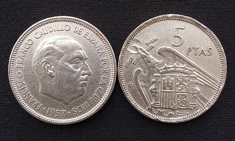 Монеты 23 мм, 5 песет, европейская версия, 100% оригинал Unc
