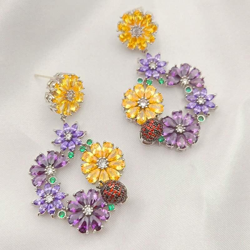 MECHOSEN Luxury Colorful Fine Flowers AAA Zircon Pendant Earrings Jewelry Ladies Party Dress Ear Beautiful Accessories Gift 2019