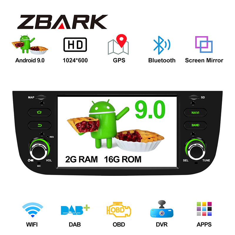 6.2 Android 10.0 Car Radio Player GPS WiFi DAB+ Canbus for FIAT Punto 199 310 / Linea 323 2012 2013 2014 2015 2016 YHLYMTK image