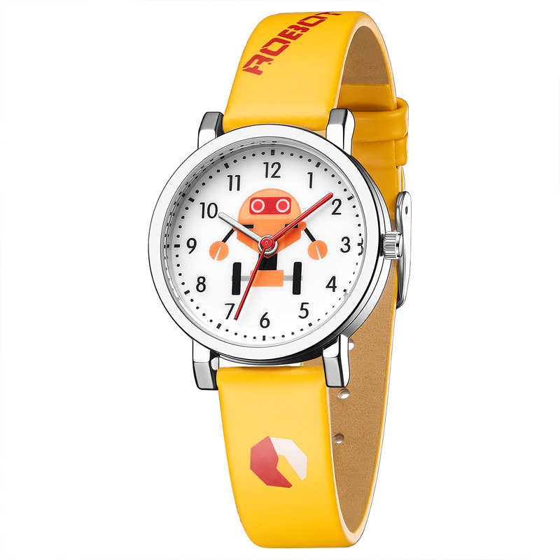 2019 KDM Girl Watches Lovely Cartoon Robot Watch Kids Waterproof Leather Straps Cute Watches Children Students Gift Quartz Clock