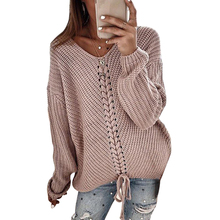 Autumn Winter Knitted Sweaters Women 2019 Loose Sweater Women Pullovers Jumper V-neck Long Sleeves Sweaters Femme Tops white v neck cold shoulder long sleeves sweaters